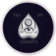 Yes No Goodbye Magic Ouija Vintage Planchette Design Round Beach Towel