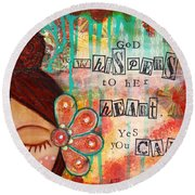 Yes You Can Round Beach Towel