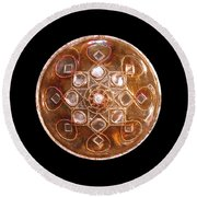 Yesirah Copper Lightmandala Round Beach Towel