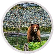 Yikes, It's A Grizzly Round Beach Towel