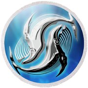Yin And Yang Whale Round Beach Towel