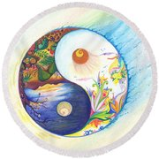 Yin Yang Spring And Autumn Round Beach Towel
