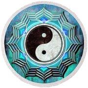 Yin Yang -  The Healing Of The Blue Chakra Round Beach Towel