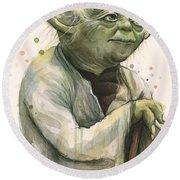 Yoda Portrait Round Beach Towel by Olga Shvartsur