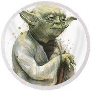 Yoda Watercolor Round Beach Towel by Olga Shvartsur