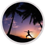 Yoga At Sunset Round Beach Towel