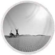Yoga Landscape  Round Beach Towel