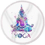 Yoga Meditation Watercolor Print Round Beach Towel