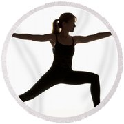 Yoga Pose Warrior II Round Beach Towel