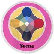 Yoma Text Round Beach Towel