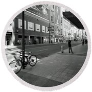 Yonge And Queen In Toronto Round Beach Towel