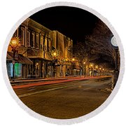 York South Carolina Downtown During Christmas Round Beach Towel