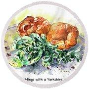 Yorkshire Puddings With Yorkshire Salad Garnish Round Beach Towel