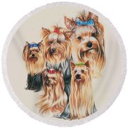 Yorkshire Terrier Round Beach Towel
