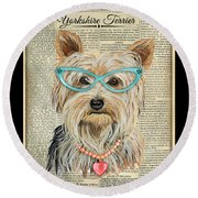 Yorkshire Terrier-jp3856 Round Beach Towel