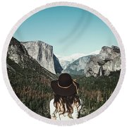 Yosemite Awe Round Beach Towel