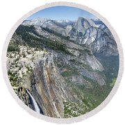 Yosemite Falls And Valley From Eagle Tower Detail - Yosemite Round Beach Towel