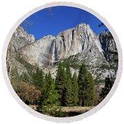 Yosemite Falls Through The Trees Round Beach Towel