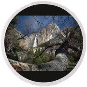 Yosemite Falls Tree Round Beach Towel
