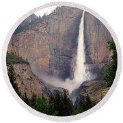Yosemite Falls Vertical Round Beach Towel