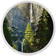 Yosemite Falls With Late Afternoon Light In Yosemite National Park. Round Beach Towel