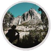 Yosemite Hiker Round Beach Towel