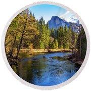 Yosemite Merced River With Half Dome Round Beach Towel