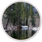 Yosemite Reflections Round Beach Towel