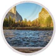 Yosemite Sunset Round Beach Towel