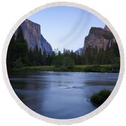 Yosemite Twilight Round Beach Towel