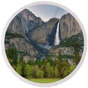 Yosemite Upper And Lower Falls Round Beach Towel