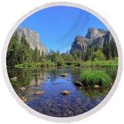 Yosemite Valley, California Round Beach Towel