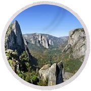 Yosemite Valley Panorama From Union And Glacier Points Round Beach Towel