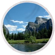 Yosemite Valley View X Round Beach Towel