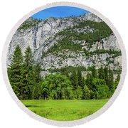 Yosemite West Valley Meadow Panorama #2 Round Beach Towel