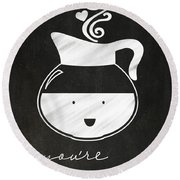 You Are Brewtiful Round Beach Towel