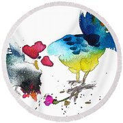 You Are My Sweet Heart Round Beach Towel by Miki De Goodaboom
