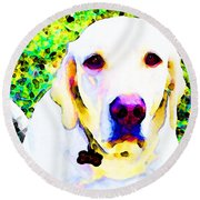 You Are My World - Yellow Lab Art Round Beach Towel