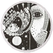 You Me The Stars And The Moon Round Beach Towel