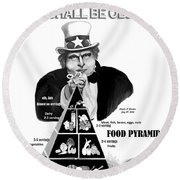 You Shall Be Obese By Fat Uncle Sam Round Beach Towel