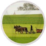 Young Amish Farmer Round Beach Towel