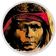 Young Apache Brave Round Beach Towel