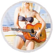Young Attractive Blonde Woman Playing Guitar Round Beach Towel