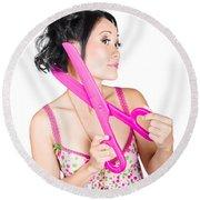 Young Beautiful Woman Cutting Hair At Beauty Salon Round Beach Towel