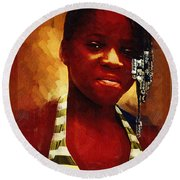 Young Black Female Teen 1 Round Beach Towel