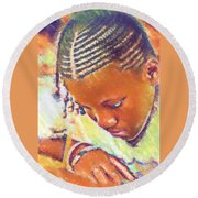 Young Black Female Teen 2 Round Beach Towel