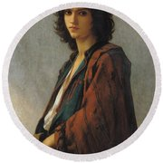 Young Bohemian Serb Round Beach Towel by Charles Landelle