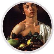 young boy Caravaggio Round Beach Towel