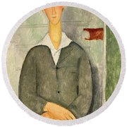 Young Boy With Red Hair Round Beach Towel by Amedeo Modigliani