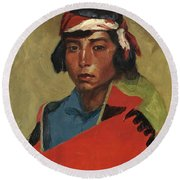 Young Buck Of The Tesuque Pueblo Round Beach Towel